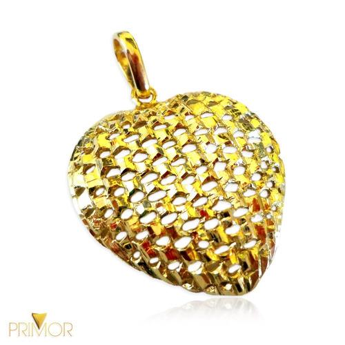 pingente em ouro vazado trabalhado formato de coração pg017