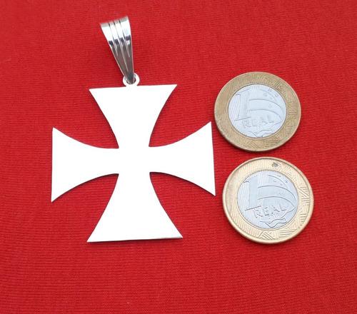 pingente em prata 925 cruz de malta do vasco. 5cm.