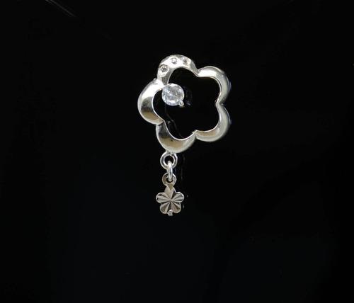 pingente em prata 925 - flor com zircônia