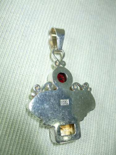 pingente em prata 925, granada, citrino e abalone