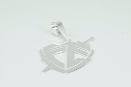 pingente escudo da fé em prata 925- frete grátis