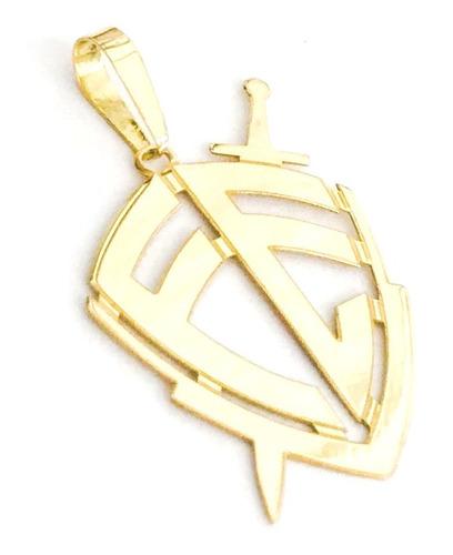 pingente escudo da fé g em ouro 18k linda jóia