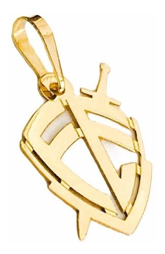 pingente escudo da fé p em ouro 18k full