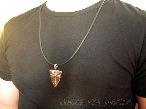 pingente escudo medieval cruz de santiago/templária em prata