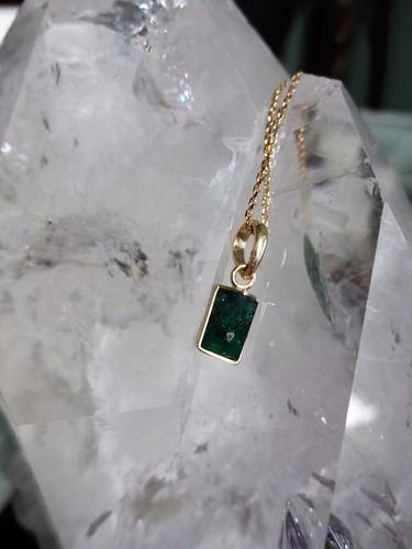 pingente esmeralda bruta e ouro 18k (750)! encomende!