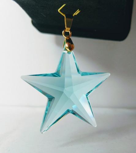 pingente estrela antiquegreen swarovski 4,0 cm folh. a ouro