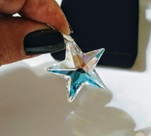 pingente estrela cristal swarovski 2,8 cm blue ab prata 925