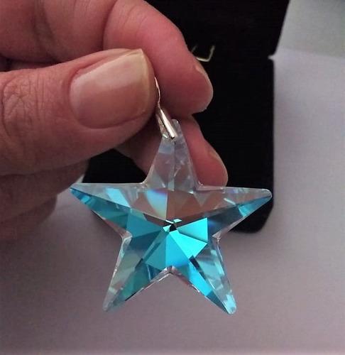 pingente estrela cristal swarovski 4,0 cm blue ab prata 925