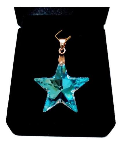 pingente estrela cristal swarovski blue ab folh. a  ouro 18k