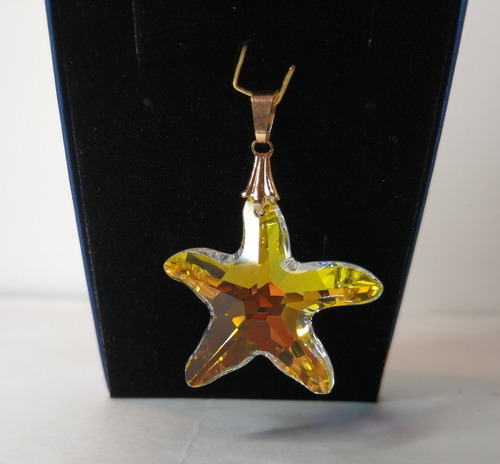 pingente estrela do mar cristal swarovski 2,8 cm folh a ouro