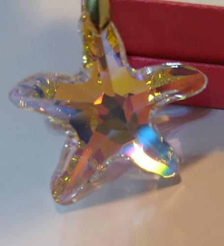 pingente estrela do mar cristal swarovski 4,0 cm folh. ouro