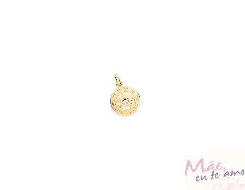 pingente f. ouro 18k feminino redondo rommanel 541945