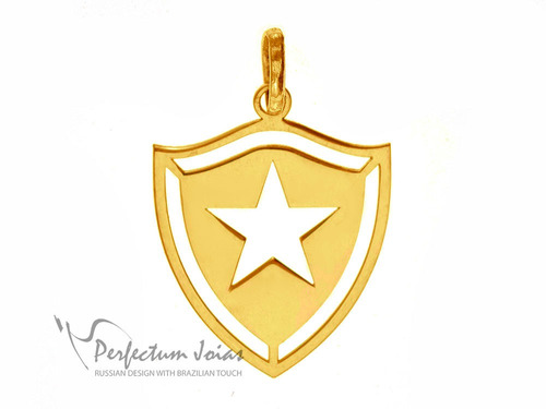 pingente feminino masculino botafogo prata banhada ouro 18k