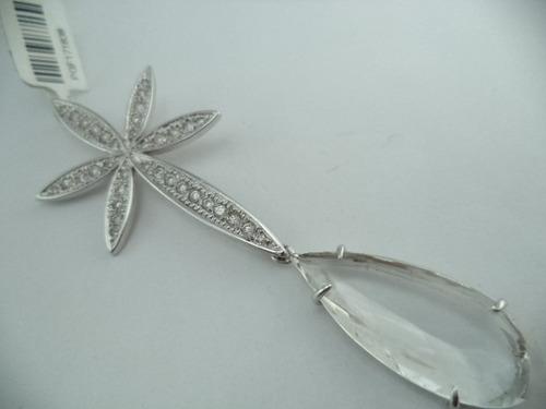pingente  flor com zirconia gota de cristal