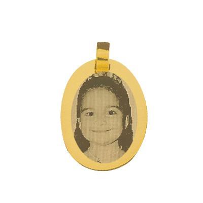 pingente folheado a ouro com foto gravada / fotogravacao 15