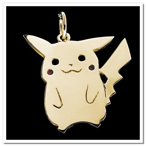 pingente folheado a ouro - inspirado no pikachu - 1035f