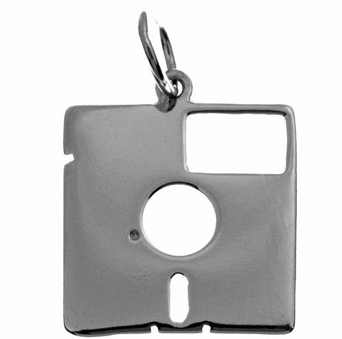 pingente folheado a prata - disquete 8 polegadas - 1088p