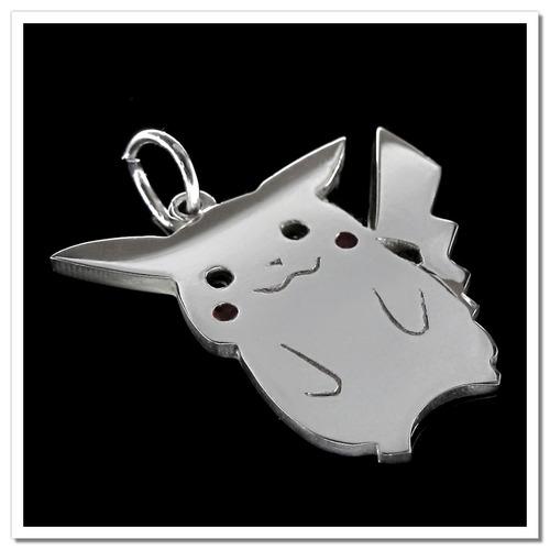 pingente folheado a prata - inspirado no pikachu - 1035p