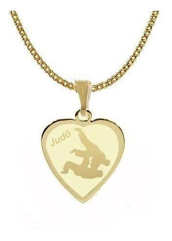 pingente folheado  ouro judô corrente 45cm coração