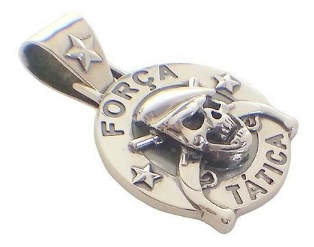 pingente força tática caveira em prata para policiais