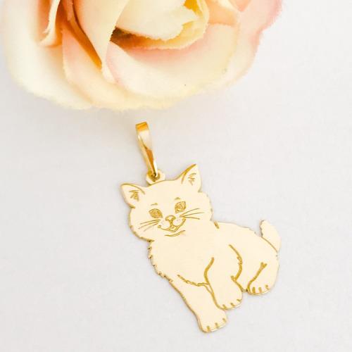 pingente gato gata gatinho ouro 18k lindo pet