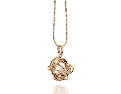 pingente globo vazado pérola dentro ouro rommanel