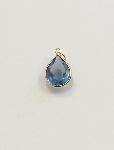 pingente gota azul claro de zirconia, ouro 18kt