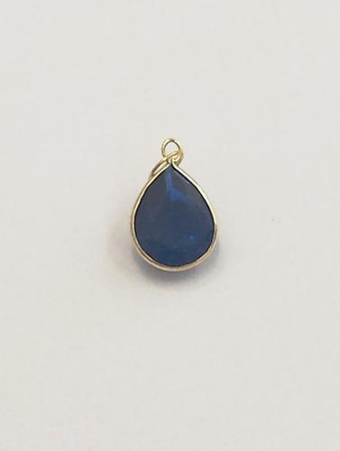 pingente gota azul de zirconia, ouro 18kt