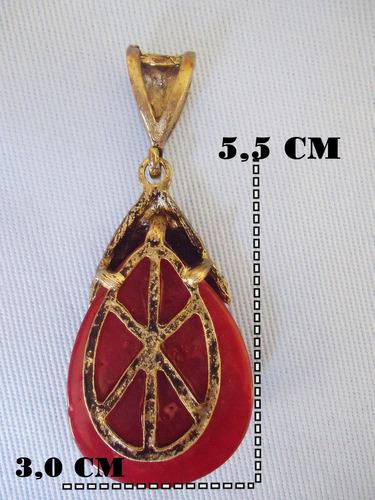 pingente gota imitação jadeite c\ strass vermelho