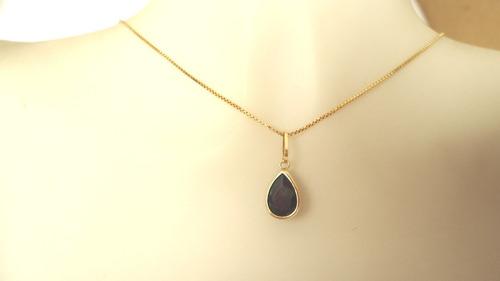 pingente gota pedra cor preta onix joia de ouro 18k