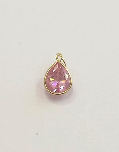 pingente gota rosa de zirconia, ouro 18kt