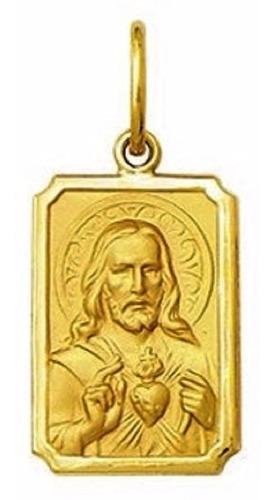 pingente grande coraçao de jesus ouro 18k medalha 2.8cm
