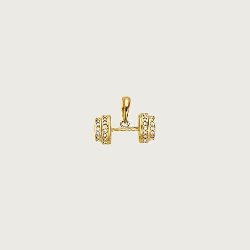 pingente halteres em ouro 18k (750) com zircônias