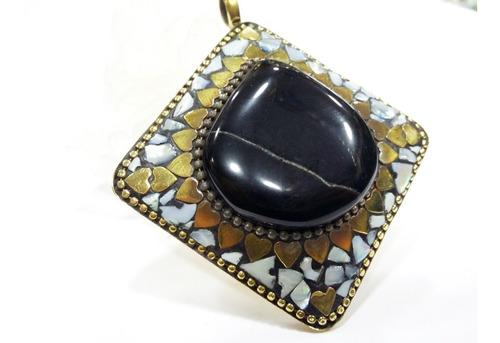 pingente indiano quadrado mosaico em pedras ônix e madre pér