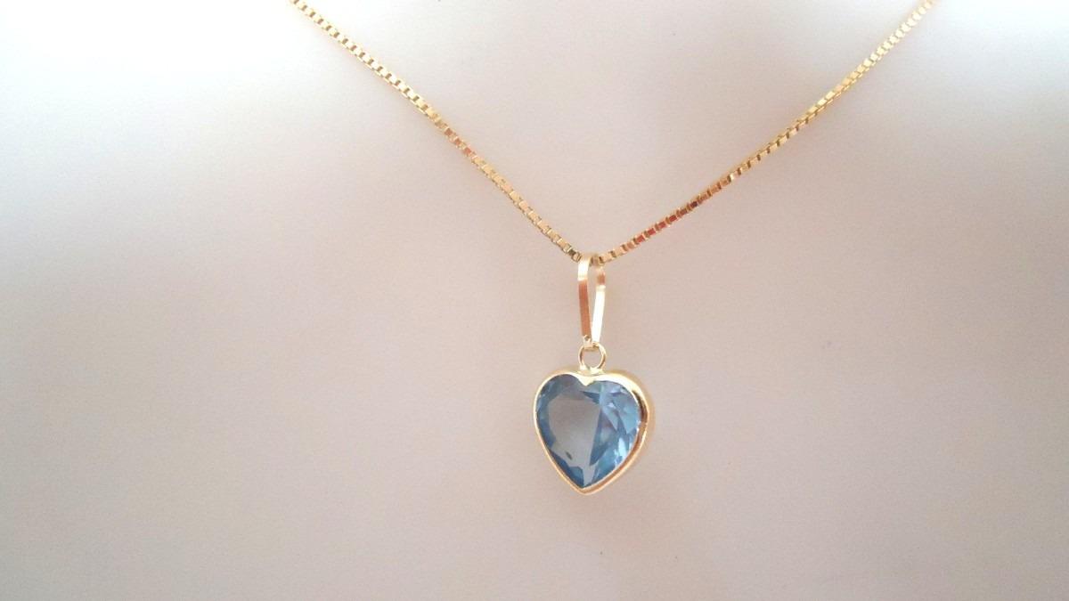 b73351b755ab5 Pingente Coração Rosa,azul Água Marinha,lilás, Joia Ouro 18k - R  69 ...
