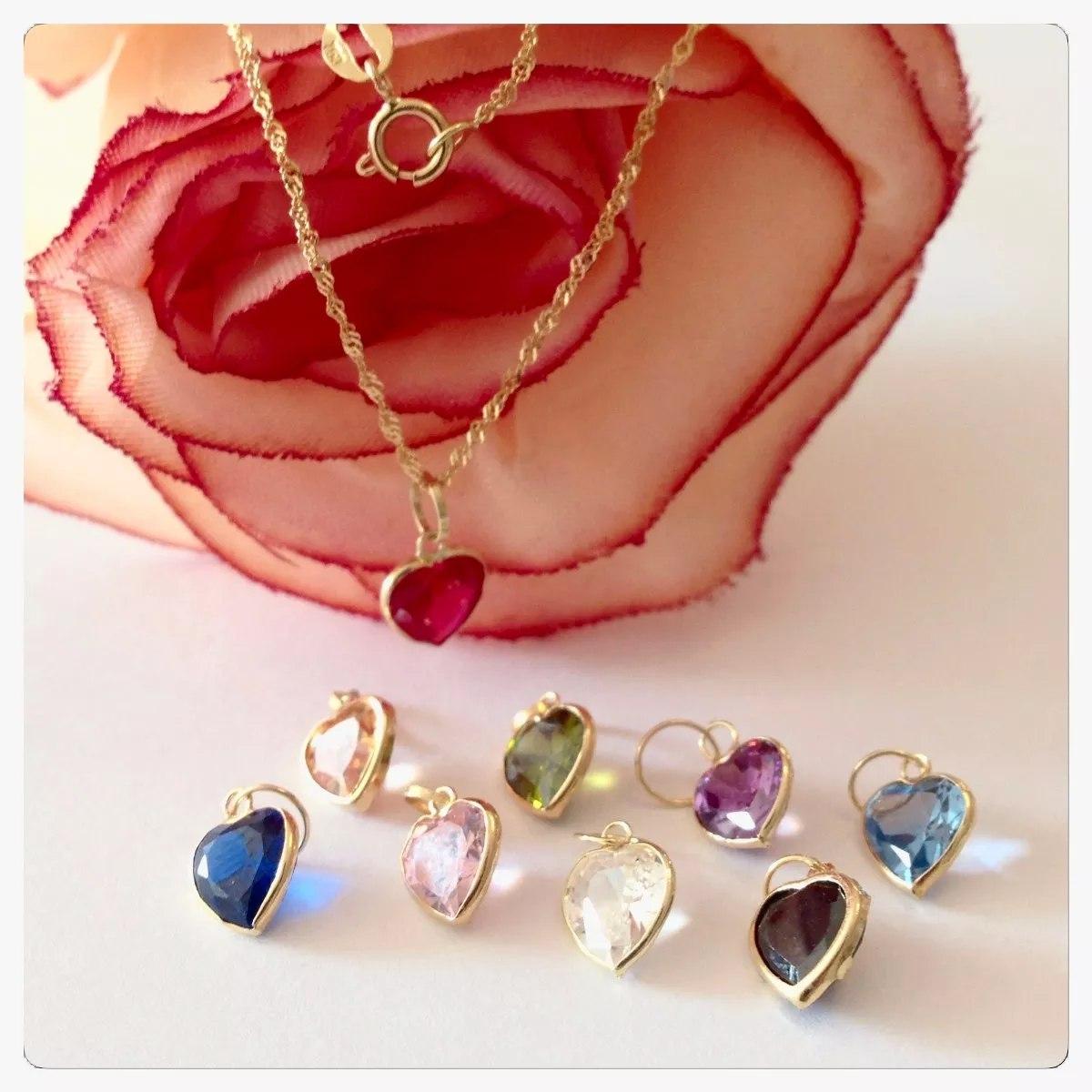 Pingente Coração Cor Rubi Ametista Azul Rosa Joia Ouro 18k - R  69 ... f67077ed72