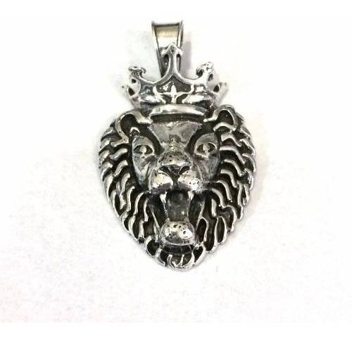 pingente leão rei majestade coroa grande prata genuina 20105
