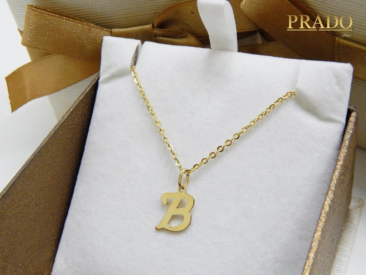 5b3eb7cdb6973 pingente letra inicial nome + corrente bailarina em ouro 18k. Carregando  zoom.
