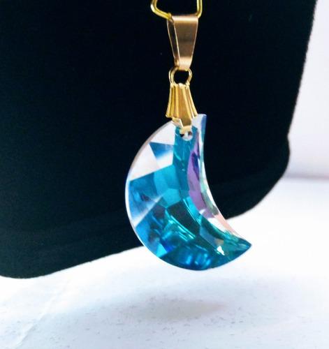 pingente lua cristal swarovski 2,0 cm folheado a ouro 18k