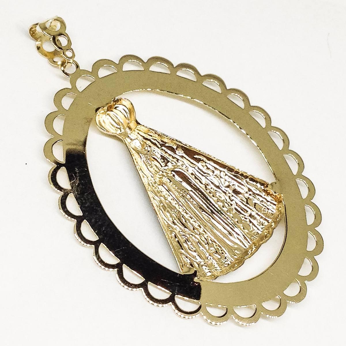pingente mandala nossa senhora aparecida ouro 18k linda jóia. Carregando  zoom. f2bb63bae8