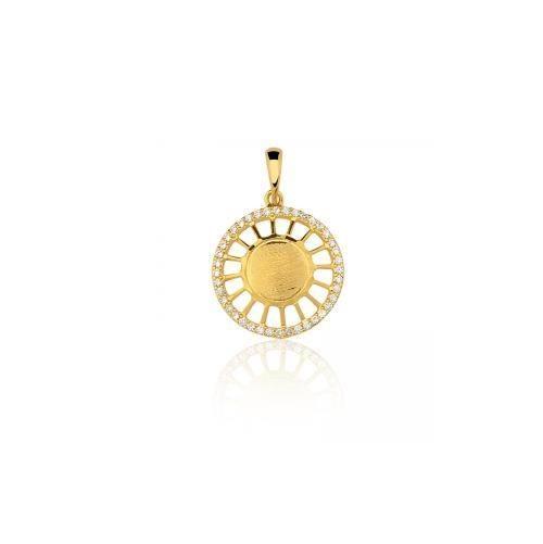 f72ad4e2d5708 Pingente Mandala Pequena Com Zirconia Em Ouro 18k - R  729