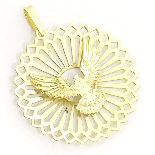 pingente mandala pomba paz divino espirito santo gg ouro 18k