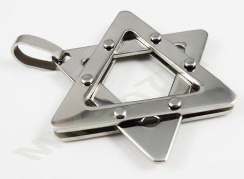 pingente masculino em aço inox316l estrela de davi cor prata