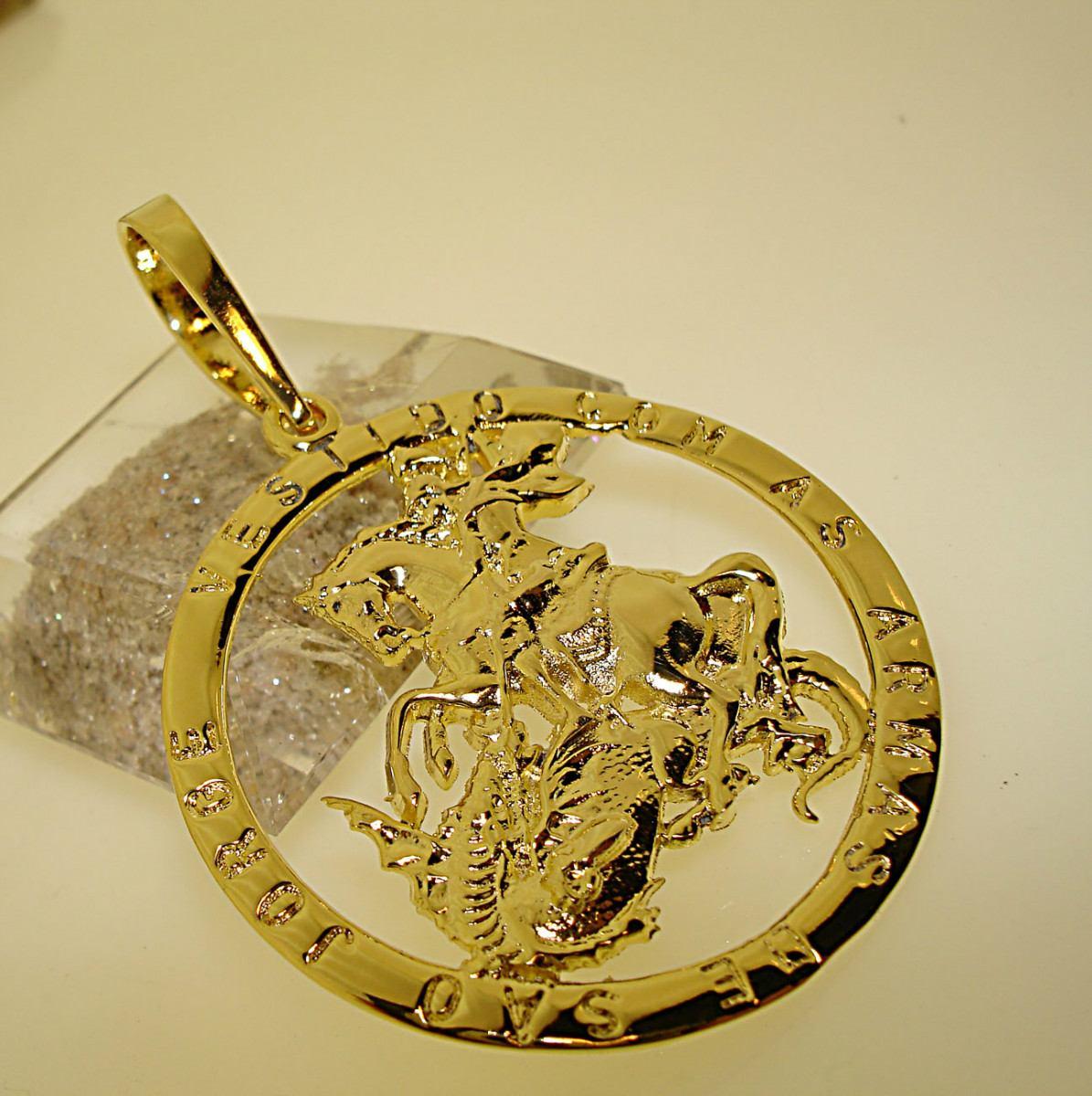pingente medalha armas são jorge guerreiro ouro 18k banho. Carregando zoom. 76ed23aad1