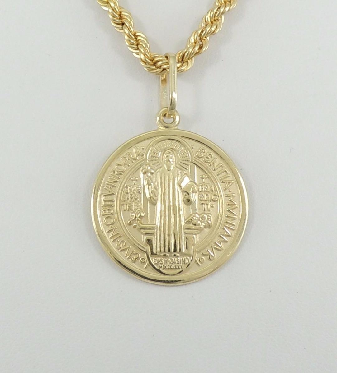 64eaa5fc49dea Pingente Medalha De São Bento G Ouro 18k 750 - R  995,00 em Mercado ...