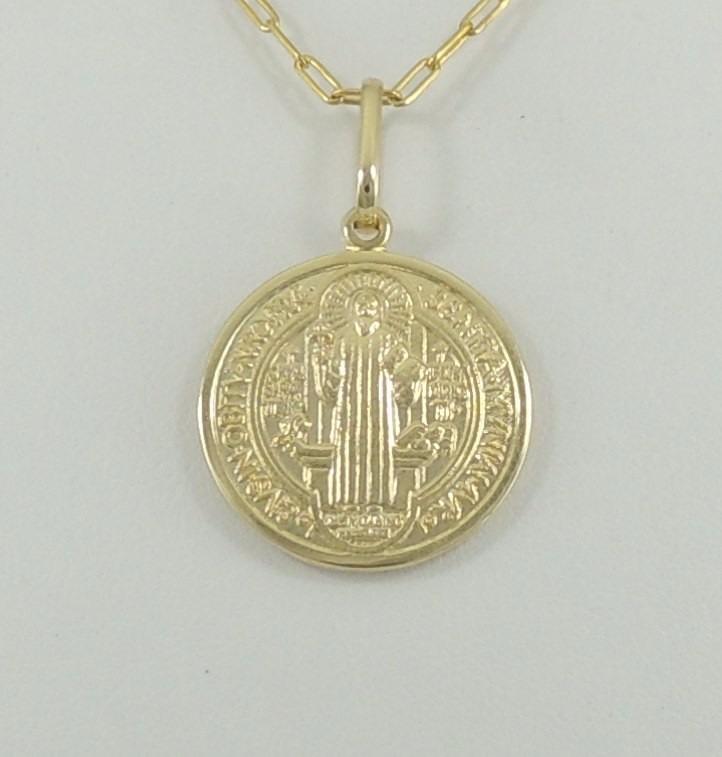 b284a3742db83 Pingente Medalha De São Bento M Ouro 18k 750 Super Promoção - R  640,00 em  Mercado Livre