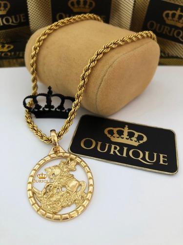 pingente medalha de são jorge ouro 18k 750 máquina 3d luxo