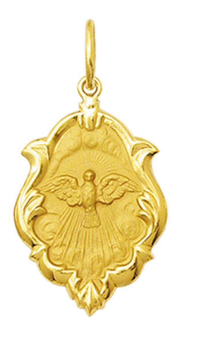5d6453117bce8 Pingente Medalha Divino Espirito Santo De Ouro 18k 1
