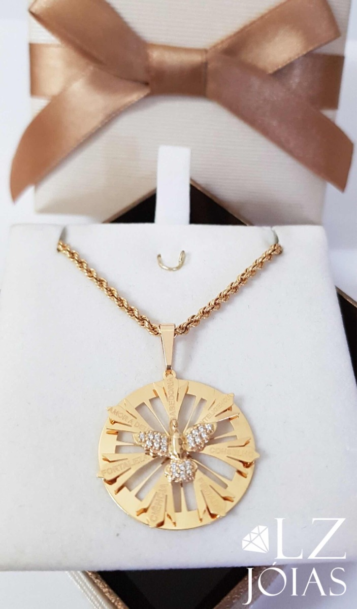6746a342eba24 pingente medalha divino espirito santo feminino ouro 18k. Carregando zoom.
