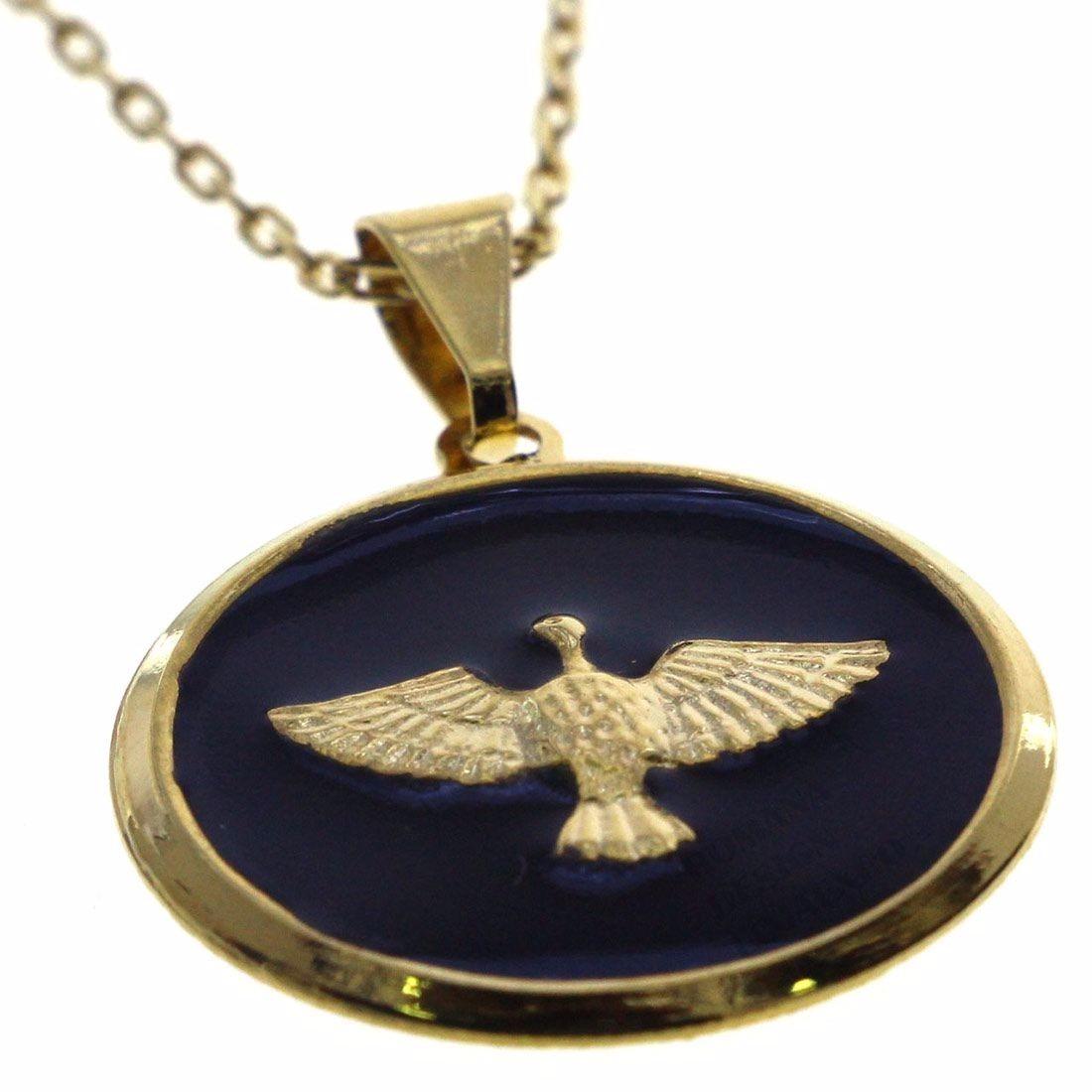 pingente medalha divino espírito santo folheado a ouro pomba. Carregando  zoom. c08fa658ac